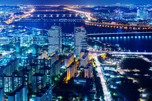 Centro da cidade cityscape Seul cidade ponte edifícios Foto stock © leungchopan