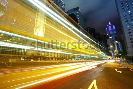 ışık modern bina gökyüzü karayolu gece ufuk çizgisi Stok fotoğraf © leungchopan