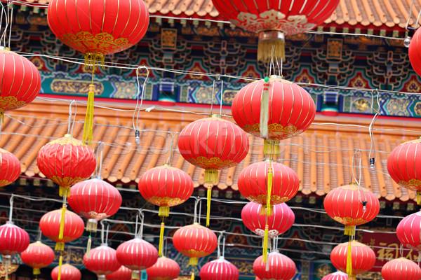 Rojo linterna chino templo diseno viaje Foto stock © leungchopan
