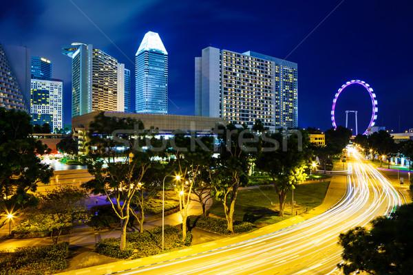 Singapore city at night Stock photo © leungchopan