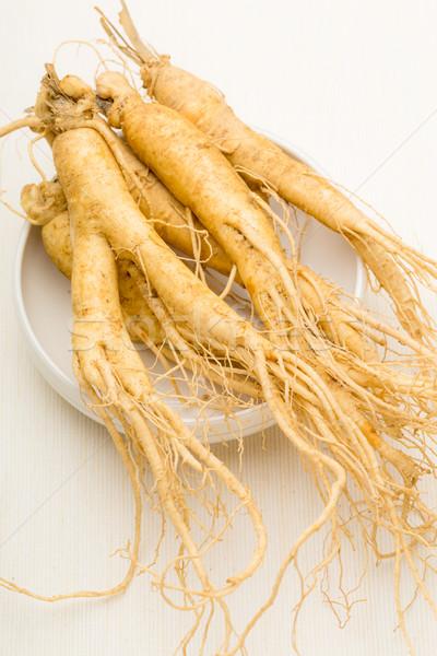 женьшень белый продовольствие фон медицина пластина Сток-фото © leungchopan