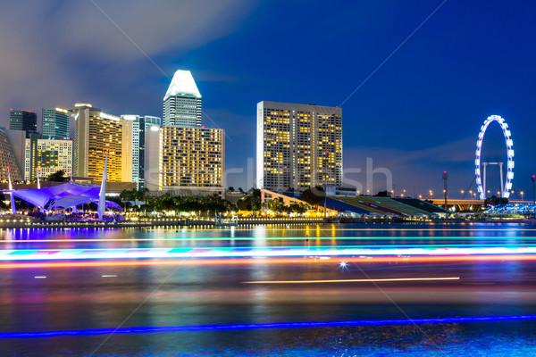 Stockfoto: Singapore · nacht · stad · stedelijke · hotel