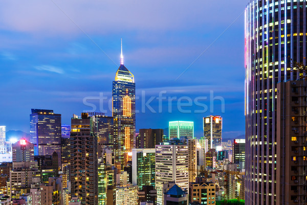 Hong Kong city skyline at night Stock photo © leungchopan