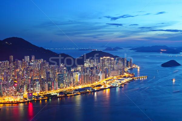 Hong-Kong île nuit ville coucher du soleil montagne Photo stock © leungchopan