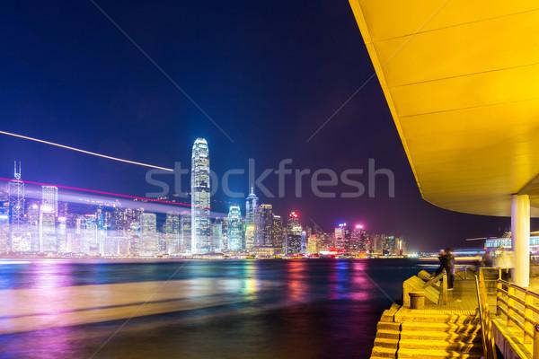 Hong Kong passeio público edifício paisagem mar noite Foto stock © leungchopan
