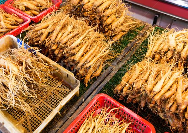 Ginseng raíz palo alimentos medicina mercado Foto stock © leungchopan
