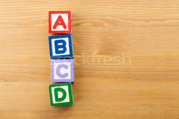 Houten speelgoed houten hout school brief kid Stockfoto © leungchopan