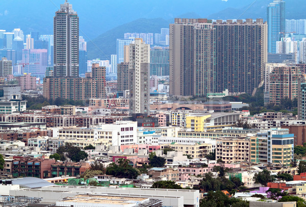 Foto d'archivio: Hong · Kong · affollato · edifici · città · muro · home