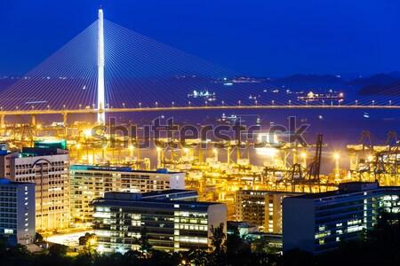 Сток-фото: контейнера · моста · Гонконг · ночь · небе · деньги