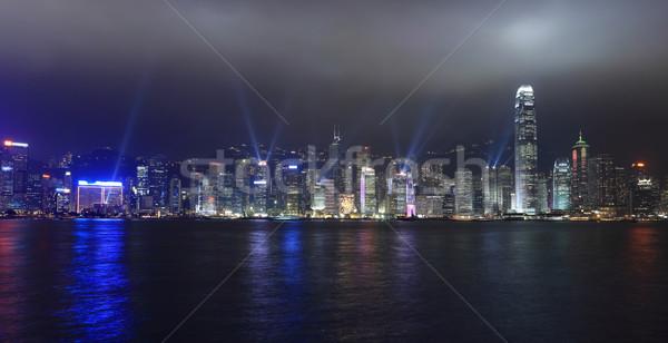 Szimfónia fények előadás Hongkong éjszaka égbolt Stock fotó © leungchopan