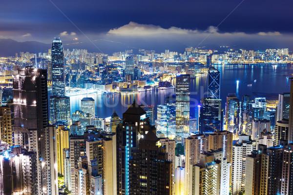 Hong Kong skyline from Victoria Peak at mid night Stock photo © leungchopan
