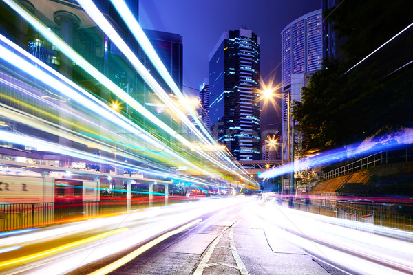 Traffic trail in a city Stock photo © leungchopan