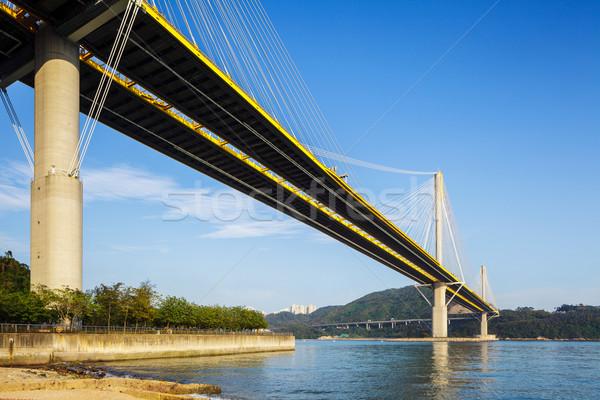 висячий мост дороги здании улице моста синий Сток-фото © leungchopan