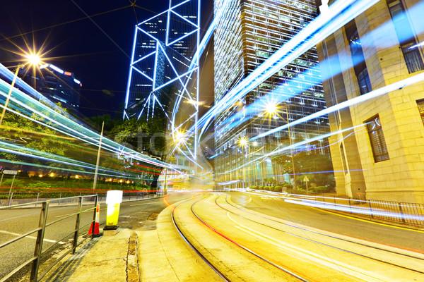 Tráfico Hong Kong noche negocios ciudad luz Foto stock © leungchopan