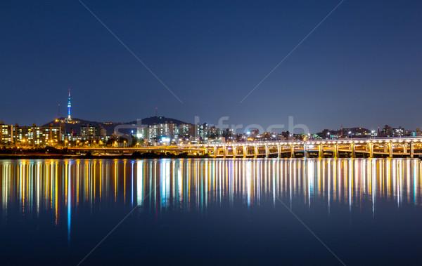 Seul linha do horizonte noite negócio cidade rio Foto stock © leungchopan
