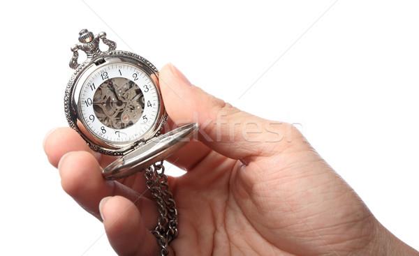 懐中時計 ホールド 手 背景 金 レトロな ストックフォト © leungchopan