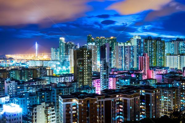 Downtown cityscape in Hong Kong at night Stock photo © leungchopan