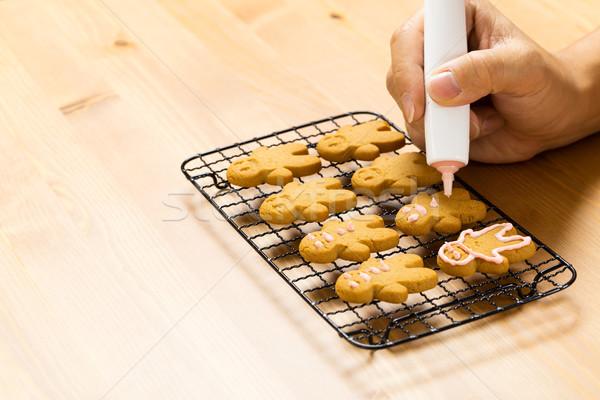 Mézeskalács cukormáz folyamat tél desszert rajz Stock fotó © leungchopan