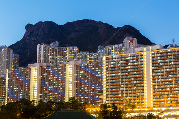 Kowloon with lion rock at night  Stock photo © leungchopan