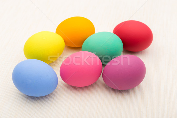 Colourful easter egg on linen background Stock photo © leungchopan