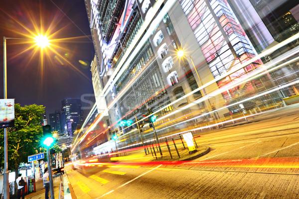 modern urban city at night with traffic Stock photo © leungchopan