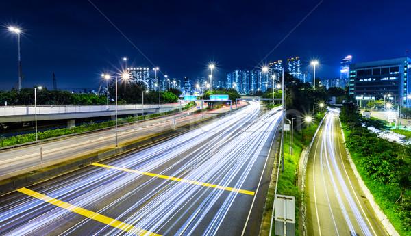 Traffic trail on highway Stock photo © leungchopan