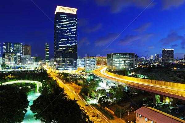 Hong-Kong Night City affaires ciel bâtiment autoroute Photo stock © leungchopan
