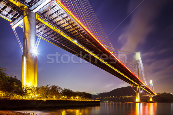 Ting Kau suspension bridge in Hong Kong at night  Stock photo © leungchopan