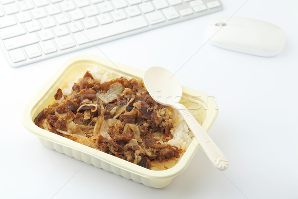 Fast food lunch at office Stock photo © leungchopan
