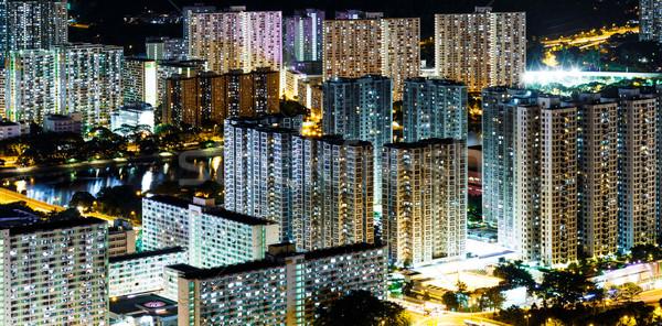 Hongkong nyilvános lakásügy város otthon éjszaka Stock fotó © leungchopan
