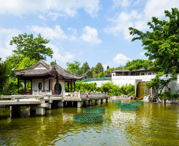 Chinese style pavilion with lake Stock photo © leungchopan