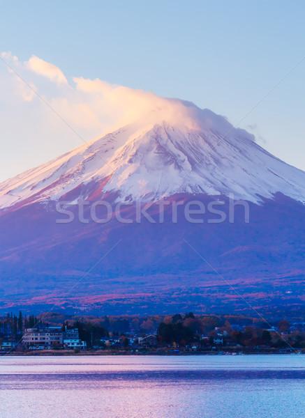 Gündoğumu dağ fuji manzara mavi ufuk çizgisi Stok fotoğraf © leungchopan