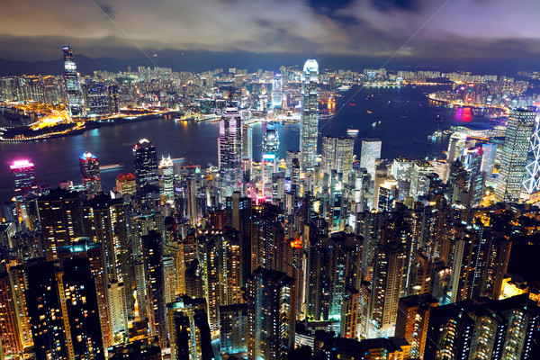 Hong Kong night view from the peak Stock photo © leungchopan