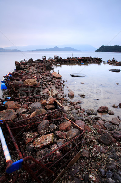 wasted stuffs at the coastline Stock photo © leungchopan