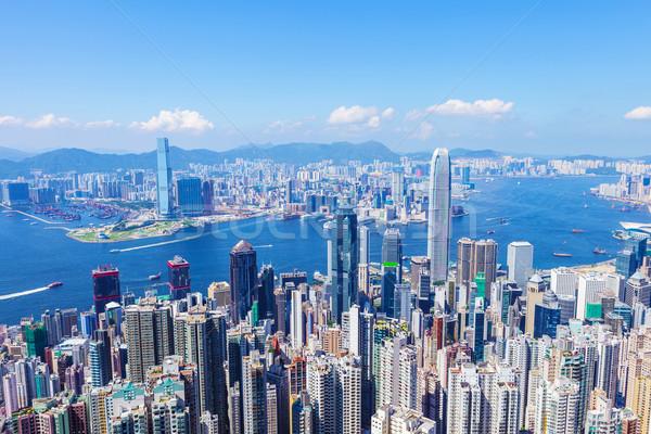 Hongkong városkép épület fény tenger háttér Stock fotó © leungchopan