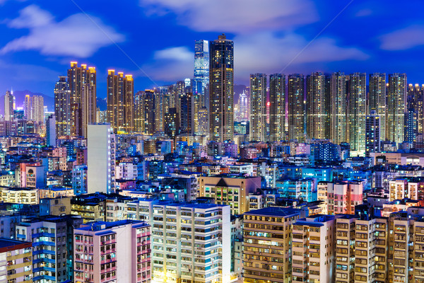 Residential district in Hong Kong at night Stock photo © leungchopan