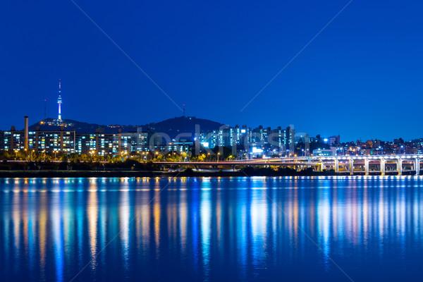 Seul noite estrada cidade montanha Foto stock © leungchopan