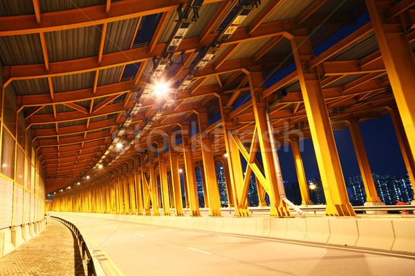 Vuota tunnel strada arancione notte metropolitana Foto d'archivio © leungchopan