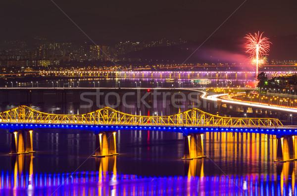 Seul Night City działalności budynku pracy Zdjęcia stock © leungchopan