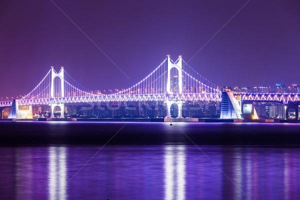 Hangbrug water weg gebouw landschap brug Stockfoto © leungchopan