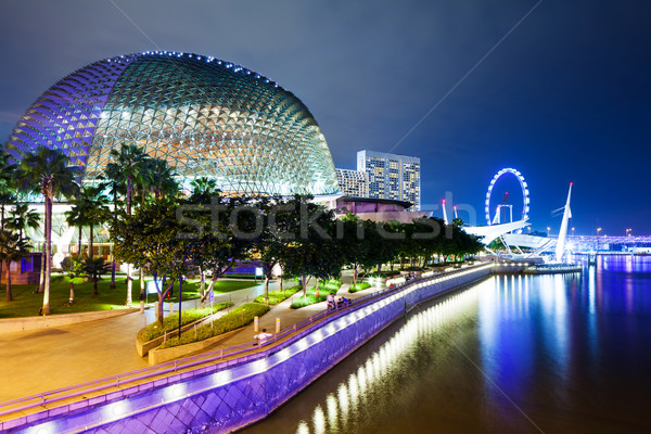 Stockfoto: Singapore · nacht · business · licht · brug