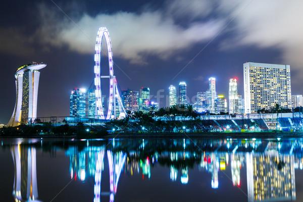 Singapore città acqua notte skyline architettura Foto d'archivio © leungchopan