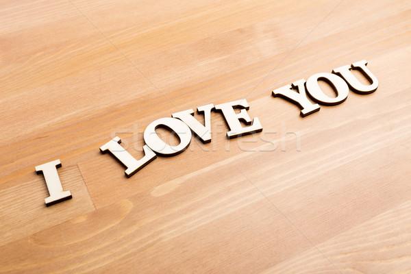Litery wyrażenie miłości drewna projektu Zdjęcia stock © leungchopan