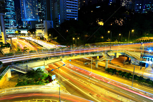 Highway at night in modern city Stock photo © leungchopan