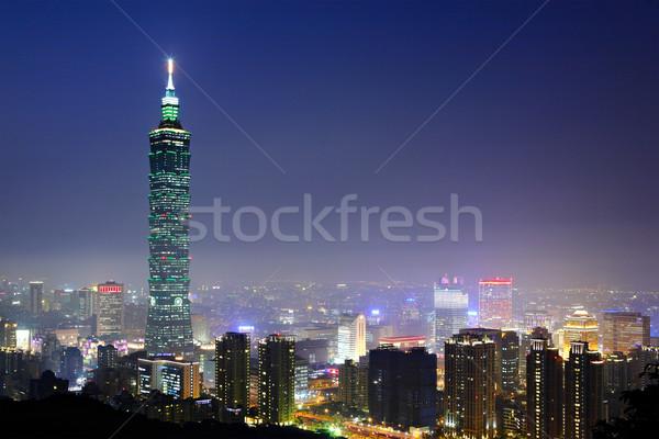 Night City biuro budynku wygaśnięcia krajobraz ulicy Zdjęcia stock © leungchopan