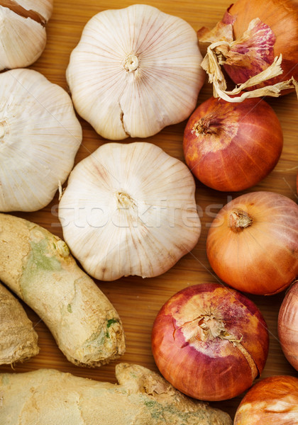 Ginger, garlic and allium ascalonicum Stock photo © leungchopan