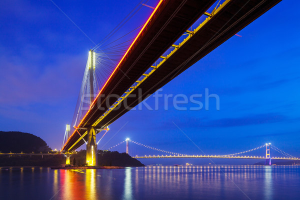 Puente colgante Hong Kong noche agua paisaje mar Foto stock © leungchopan