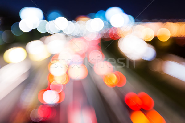 Blurred unfocused highway view at night Stock photo © leungchopan