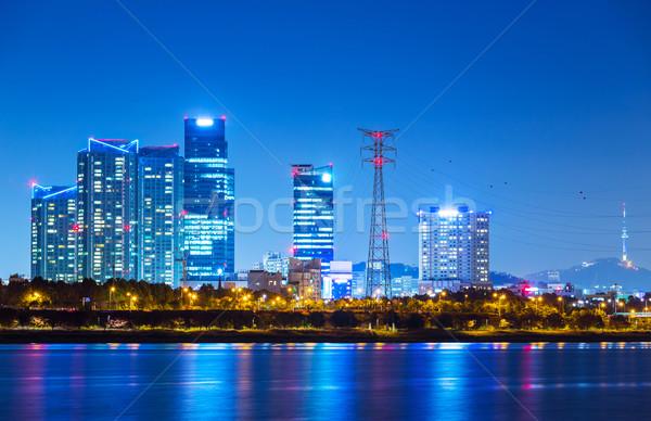 Seul cityscape Coréia do Sul água edifício mar Foto stock © leungchopan