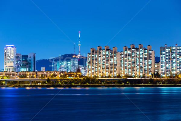 Seul urbano cidade edifício montanha rio Foto stock © leungchopan